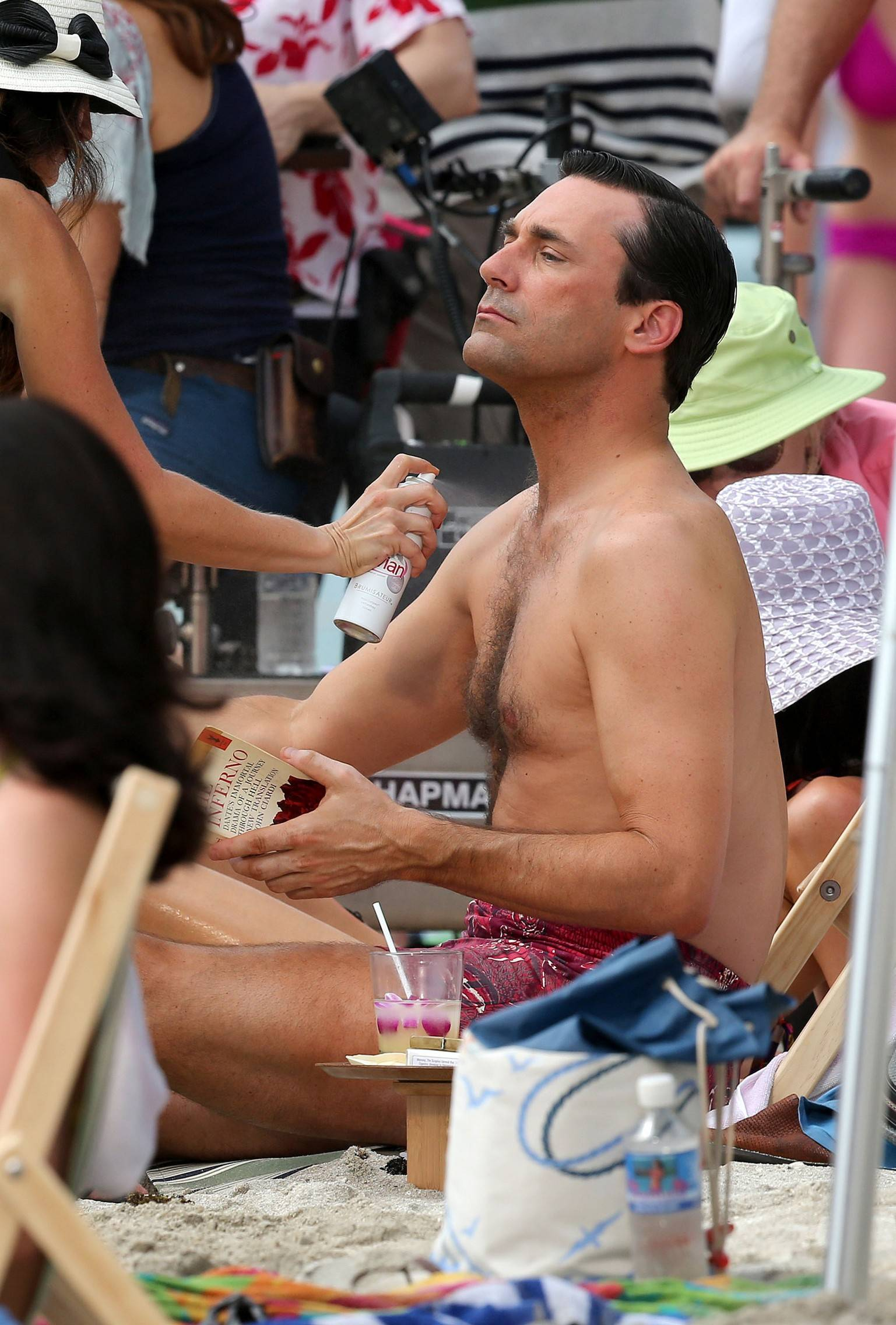 Jon Hamm In A Swimsuit Shooting Scenes For Mad Men -9072