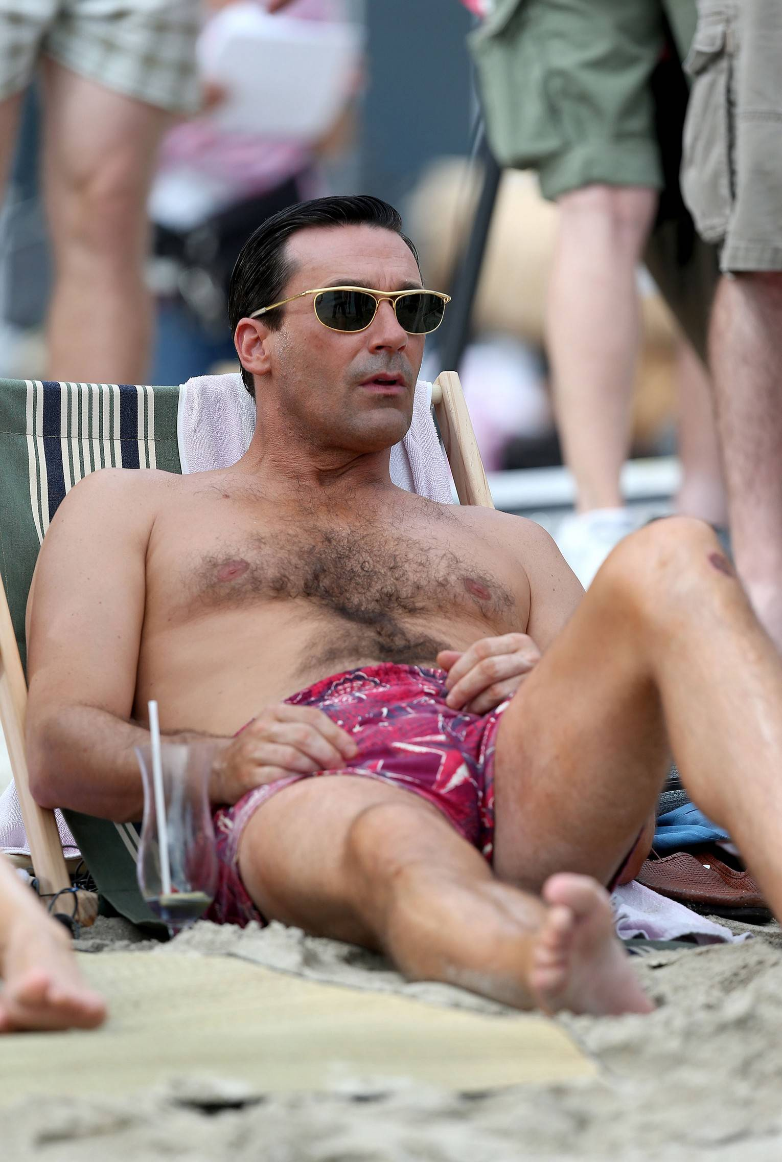 Jon Hamm In A Swimsuit Shooting Scenes For Mad Men -3570