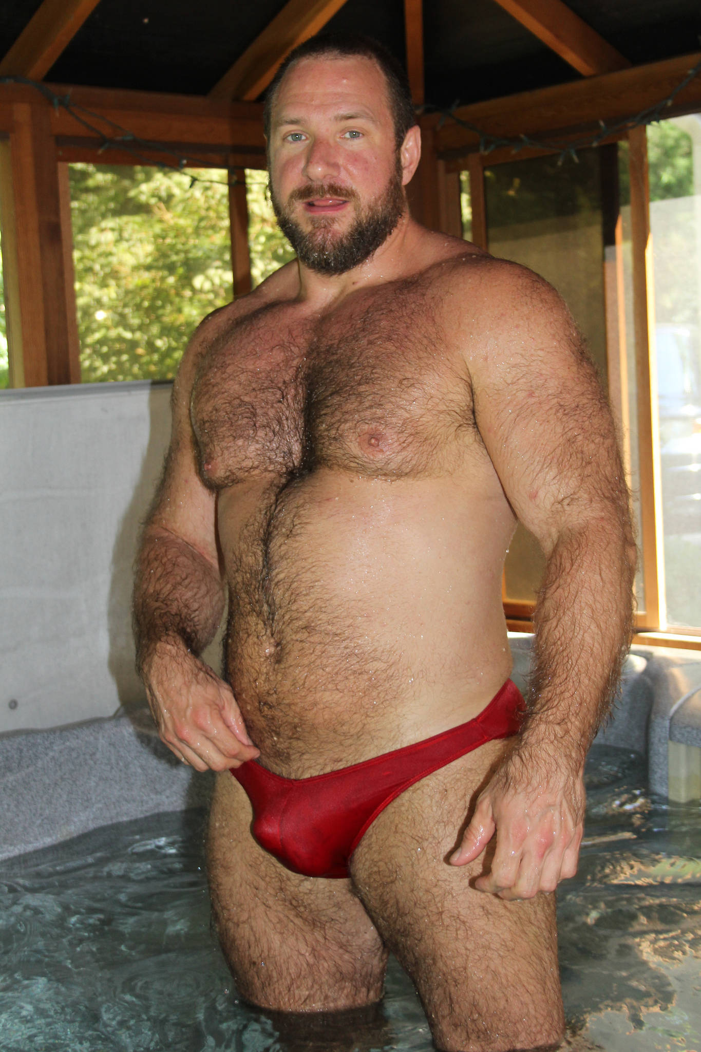 Man in speedos hairy