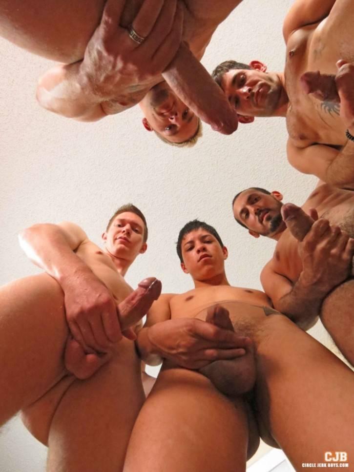 Teen boys circle jerk